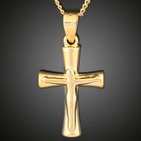 Krzyż wisiorki mosiądz, Krucyfiks krzyż, Pozłacane 18K złotem, Chrześcijanin Biżuteria, bez zawartości ołowiu i kadmu, 16x30mm, otwór:około 3-5mm, 6komputery/torba, sprzedane przez torba