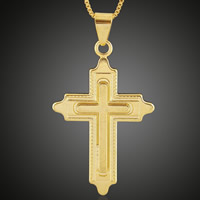 Krzyż wisiorki mosiądz, Pozłacane 18K złotem, bez zawartości ołowiu i kadmu, 29x52mm, otwór:około 3-5mm, 6komputery/torba, sprzedane przez torba