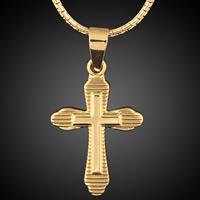 Krzyż wisiorki mosiądz, Pozłacane 18K złotem, bez zawartości ołowiu i kadmu, 16x29mm, otwór:około 3-5mm, 6komputery/torba, sprzedane przez torba