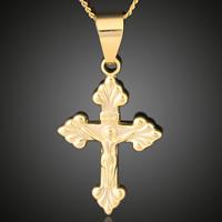 Krzyż wisiorki mosiądz, Krucyfiks krzyż, Pozłacane 18K złotem, Chrześcijanin Biżuteria & z listu wzór, bez zawartości ołowiu i kadmu, 17x36mm, otwór:około 3-5mm, 6komputery/torba, sprzedane przez torba