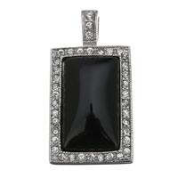 Wisiorki z czarnym agatem, Stal nierdzewna, ze Agat czarny, Prostokąt, Naturalne, z kamieniem, 22x43x11mm, otwór:około 4.5x7mm, sprzedane przez PC