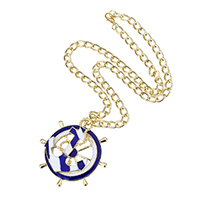 Zinc Alloy Sweater Chain Necklace Ship Wheel gold color plated nautical pattern   twist oval chain   enamel nickel lead   cadmium free 55mm.34mm Sold Per Approx 18 Inch Strand