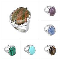 Кольца с камнями, Латунь, с Полудрагоценный камень, Плоская овальная форма, Платиновое покрытие платиновым цвет, природный & различные материалы для выбора & регулируемый & Женский, не содержит никель, свинец, 22.50mm, размер:7, продается PC