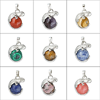 Gemstone Pendants Jewelry Brass with Gemstone Gecko platinum color plated natural   different materials for choice nickel lead   cadmium free 22x28x16.50mm Hole:Approx 5x8mm
