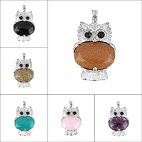 Gemstone Pendants Jewelry Zinc Alloy with Gemstone Owl platinum color plated natural   different materials for choice   with rhinestone nickel lead   cadmium free 26.50x46x8mm Hole:Approx 4x6mm
