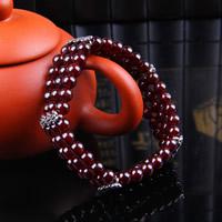 Гранат браслет, с цинковый сплав, синтетический, Январь камень & Женский & 3-нить, 5.5-6mm, Продан через Приблизительно 6 дюймовый Strand