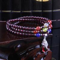 Гранат браслет, с смешанный агат & клуазоне & цинковый сплав, синтетический, Январь камень & Женский & 3-нить, 5.5mm, Продан через Приблизительно 21 дюймовый Strand
