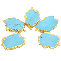 Turquoise Connector, with iron bail, Nuggets, gold color plated, 1/1 loop, blue, 30-40mm, Hole:Approx 1.5mm, Sold By PC