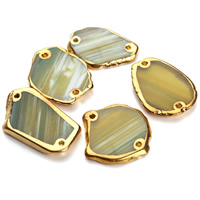 Lace Agate Connector, Nuggets, gold color plated, 1/1 loop, green, 25-40mm, Hole:Approx 1.5mm, Sold By PC