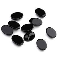 Черный агат кабошон, Плоская овальная форма, разный размер для выбора & плоской задней панелью, 20ПК/сумка, продается сумка