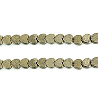 Golden Pyrite Beads, Heart, natural, different size for choice, Hole:Approx 0.8mm, Length:Approx 15.5 Inch, Sold By Lot