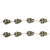 Golden Pyrite Beads, Skull, natural, 19x13m, Hole:Approx 1.5mm, Length:Approx 15.5 Inch, 3Strands/Lot, Approx 13PCs/Strand, Sold By Lot