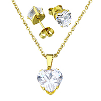 Fashion Stainless Steel Jewelry Sets, earring & necklace, Heart, gold color plated, oval chain & for woman & with cubic zirconia, 10x10x7mm, 1.5x2x0.5mm, 7x7x15mm, Length:Approx 17.8 Inch, Sold By Set