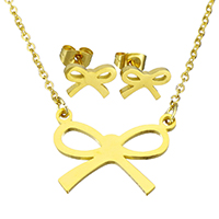Fashion Stainless Steel Jewelry Sets, earring & necklace, Bowknot, gold color plated, oval chain & for woman, 21x16x1.5mm, 1.5x2x0.5mm, 10x7x12.5mm, Length:Approx 18 Inch, Sold By Set
