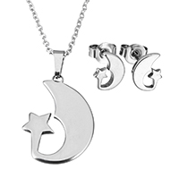 Fashion Stainless Steel Jewelry Sets, earring & necklace, Moon and Star, oval chain & for woman, original color, 17x22.5x1.5mm, 1.5x2x0.5mm, 7x9x11.5mm, Length:Approx 17.8 Inch, Sold By Set