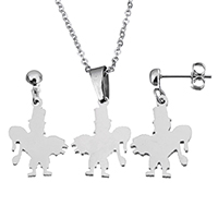 Fashion Stainless Steel Jewelry Sets, earring & necklace, Character, oval chain & for woman, original color, 14x19x1.5mm, 1.5x2x0.5mm, 27mm, 14x19x1.5mm, Length:Approx 17 Inch, Sold By Set