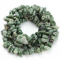 Natural Green Spot Stone Beads, Nuggets, 8-12mm, Hole:Approx 1.5mm, Approx 76PCs/Strand, Sold Per Approx 31 Inch Strand