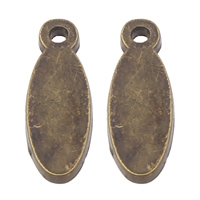 Zinc Alloy Tag Charm, Flat Oval, antique bronze color plated, laser pattern, lead & cadmium free, 6x16x1.50mm, Hole:Approx 1mm, 50PCs/Bag, Sold By Bag