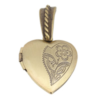 Brass Locket Pendants Heart antique bronze color plated 20x23x5mm Hole:Approx 4x5mm Inner Diameter:Approx 13x10mm 10PCs/Bag