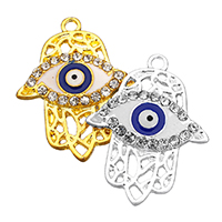 Evil Eye Pendants, Zinc Alloy, Evil Eye Hamsa, plated, Islamic jewelry & enamel & with rhinestone & hollow, more colors for choice, nickel, lead & cadmium free, 23x30x2.50mm, Hole:Approx 2mm, 100PCs/Lot, Sold By Lot