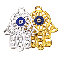 Evil Eye Pendants, Zinc Alloy, Evil Eye Hamsa, plated, Islamic jewelry & enamel & hollow, more colors for choice, nickel, lead & cadmium free, 23.50x29x1.50mm, Hole:Approx 2.2mm, 300PCs/Lot, Sold By Lot