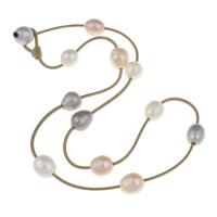 Природное пресноводное жемчужное ожерелье, Пресноводные жемчуги, с Вощеная Конопля шнура, натуральный, 9-10mm, Продан через Приблизительно 18.5 дюймовый Strand