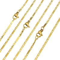 Stainless Steel Chain Necklace gold color plated figaro chain 7.5x1x0.2mm 4x1x0.2mm Sold Per Approx 20 Inch Strand