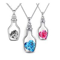 Австрийских кристаллов ожерелья, цинковый сплав, с железный цепи & Австрийский хрусталь, Бутылка, покрытый платиной, Овальный цепь & граненый & со стразами, Много цветов для выбора, не содержит свинец и кадмий, 450mm, Продан через Приблизительно 17.5 дюймовый Strand