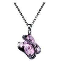 Австрийских кристаллов ожерелья, Латунь, с Австрийский хрусталь, черный свнец, Овальный цепь & граненый, не содержит никель, свинец, 12x20mm, Продан через Приблизительно 17.5 дюймовый Strand