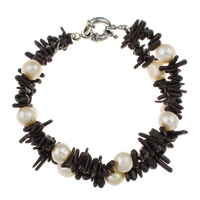 Clearance Fashion Bracelet, Coral, with Freshwater Pearl, brass spring ring clasp, 2-strand, 6-8mm, Sold Per Approx 6 Inch Strand