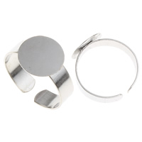 Zinc Alloy Pad Ring Base, platinum plated, lood en cadmium vrij, 20x12mm, Maat:9, 100pC's/Bag, Verkocht door Bag