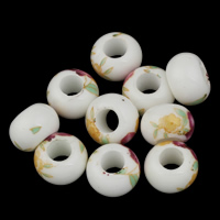 Clearance Jewelry Beads, Porcelain, large hole, 8x14mm, Hole:Approx 6mm, 10PCs/Bag, Sold By Bag