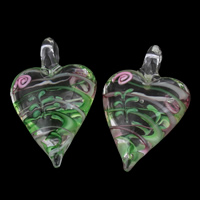 Clearance Fashion Bracelet, Lampwork, Heart, handmade, 32x50x18mm, Hole:Approx 6mm, Sold By PC
