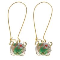 Klaring Fashion Earring, Lampwork, met Ijzer, handgemaakt, 12x48mm, Verkocht door pair