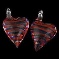 Clearance Jewelry Pendants, Lampwork, Heart, handmade, 33x52x18mm, Hole:Approx 7mm, Sold By PC