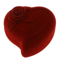 Velveteen Single Ring Box, with Cardboard, Heart, 61x59x42mm, Sold By PC