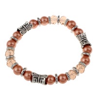 Clearance Fashion Bracelet, Glass Pearl, with Crystal & Zinc Alloy, plated, faceted, 8mm, Sold Per Approx 7 Inch Strand