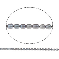 Clearance Freshwater Pearl Beads, Rice, blue, 5-6mm, Hole:Approx 0.8mm, Sold Per Approx 15 Inch Strand