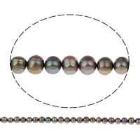 Clearance Freshwater Pearl Beads, Potato, coffee color, 7-8mm, Hole:Approx 0.8mm, Sold Per Approx 14.5 Inch Strand
