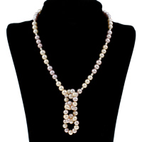 Clearance Fashion Necklace, Freshwater Pearl, brass box clasp, Potato, natural, 6-7mm, Sold Per Approx 16.5 Inch Strand