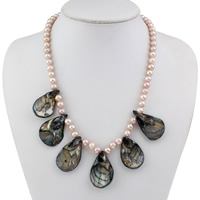Clearance Fashion Necklace, Freshwater Pearl, with Shell, brass spring ring clasp, natural, 22x34x5mm, Sold Per Approx 17 Inch Strand