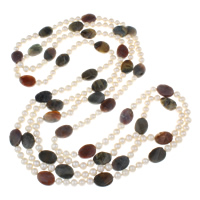 Clearance Fashion Necklace, Freshwater Pearl, with Gemstone, natural, 13x18x5mm, Sold Per Approx 82.5 Inch Strand