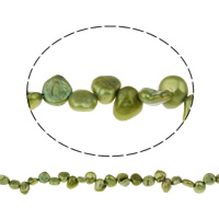Clearance Jewelry Beads, Freshwater Pearl, Keishi, green, 6-7mm, Hole:Approx 0.8mm, Sold Per Approx 15 Inch Strand