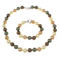 Clearance Fashion Jewelry Sets, armband & halsketting, Zoetwater Parel, messing karabijn, Aardappel, 12mm, Lengte:Ca 17 inch, Ca 7.5 inch, Verkocht door Stel