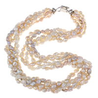 Clearance Fashion Necklace, Freshwater Pearl, brass foldover clasp, natural, 6-7mm, Sold Per Approx 19.5 Inch Strand