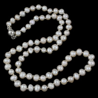 Clearance Fashion Necklace, Freshwater Pearl, brass box clasp, Potato, natural, white, 5-6mm, Sold Per Approx 17 Inch Strand