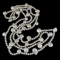 Clearance Fashion Necklace, Freshwater Pearl, natural, white, 5-6mm, Sold Per Approx 59 Inch Strand