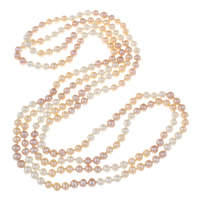 Clearance Fashion Necklace, Freshwater Pearl, Potato, natural, 5-6mm, Sold Per Approx 50 Inch Strand