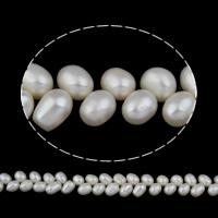 Goedkeuring zoetwater parel kralen, Rijst, natuurlijk, wit, 7-8mm, Gat:Ca 0.8mm, Per verkocht Ca 15 inch Strand