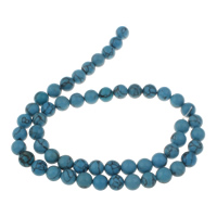 Clearance Turquoise Beads, 8mm, Hole:Approx 1mm, 53PCs/Strand, Sold Per Approx 15.5 Inch Strand